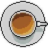 De vectorbovenkant van de de koffiekop van de pixelkunst Stock Foto