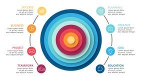 De vectorcirkels vatten infographic piramide samen, cyclusdiagram, grafiek, presentatiegrafiek Bedrijfsconcept met 8 opties Stock Fotografie