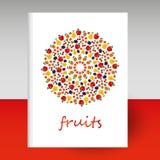 De vectordekking van agenda witte hardcover - de brochureconcept van de formaata4 lay-out - schakeerde fruit om mandala - appel,  vector illustratie