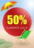 De vectordiebanner van de de zomerverkoop met 50 van van de kortingstekst en zomer elementen op kleurrijke achtergronden voor Web royalty-vrije illustratie