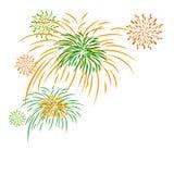 De vectordiedag van de vuurwerkonafhankelijkheid op witte achtergrond wordt geïsoleerd Royalty-vrije Stock Afbeeldingen