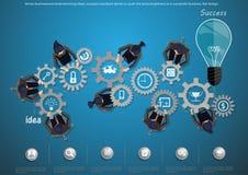 De vectordieideeën van de zakenmanbrainstorming, conceptenweerslag wordt gedreven om de wereld te duwen om succesvolle zaken, vla Stock Foto's