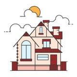 De vectordieillustratie van de lijnkunst van huispictogram op witte bac wordt geïsoleerd Royalty-vrije Stock Afbeeldingen