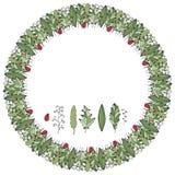 De vectordieillustratieherfst om kroon van groen krabbelweiland wordt gemaakt royalty-vrije illustratie