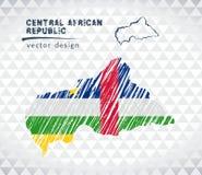 De vectordiekaart van de Centraalafrikaanse Republiek met vlagbinnenkant op een witte achtergrond wordt geïsoleerd De getrokken i Stock Fotografie