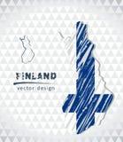 De vectordiekaart van Finland met vlagbinnenkant op een witte achtergrond wordt geïsoleerd De getrokken illustratie van het schet royalty-vrije illustratie