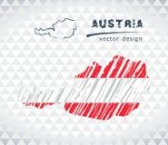 De vectordiekaart van Oostenrijk met vlagbinnenkant op een witte achtergrond wordt geïsoleerd De getrokken illustratie van het sc vector illustratie