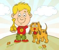 De vectordieKarakterjongen met Hond op Huisdier wordt gewonnen toont de Concurrentie Stock Foto