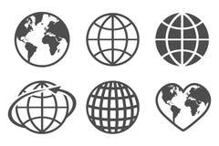 De vectordiepictogrammen van de bolaarde, op een witte achtergrond worden geplaatst royalty-vrije illustratie