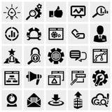 De vectordiepictogrammen van SEO op grijs worden geplaatst. Royalty-vrije Stock Foto's