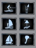 De vectordiepictogrammen van de strandtoevlucht op zwarte worden geplaatst royalty-vrije stock afbeelding