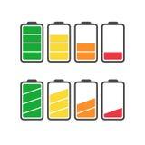 De vectordiereeks van het batterijpictogram op witte achtergrond wordt geïsoleerd Stock Fotografie