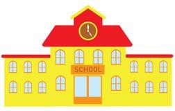 De vectordieSchoolbouw op Witte Achtergrond wordt geïsoleerd Stock Foto