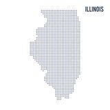 De vectordieStaat van de pixelkaart van Illinois op witte achtergrond wordt geïsoleerd Stock Afbeelding