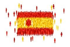 De vectordievlag van de staat van Spanje door menigte van beeldverhaalmensen wordt gevormd stock illustratie
