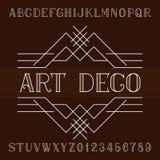 De vectordoopvont van het art decoalfabet in overzichtsstijl Serif type letters en getallen Stock Foto