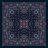 De vectordruk van Bandana van het ornamentborduurwerk bloemen, de sjaal van de zijdehals of het hoofddoek vierkante patroon ontwe vector illustratie