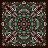 De vectordruk van Bandana van het ornamentborduurwerk bloemen, de sjaal van de zijdehals of het hoofddoek vierkante patroon ontwe royalty-vrije illustratie