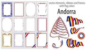 De vectorelementen, de linten en de kaders met vlag kleuren Andorra, malplaatje voor uw certificaat en diploma royalty-vrije illustratie
