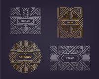 De vectorelementen van het monogramontwerp in in uitstekende en monolijnstijl met ruimte voor tekst - abstracte gouden en zilvere royalty-vrije illustratie