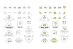 De vectoremblemen van Snel Voedselpictogrammen stock afbeelding