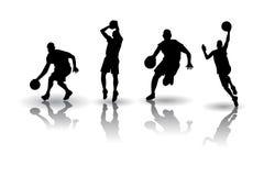 De Vectoren van het basketbalsilhouet Royalty-vrije Stock Foto's