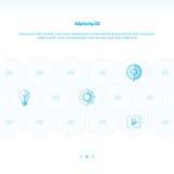 De vectoren van het pictogramconcept ontwerpen blauwe kleur Stock Fotografie