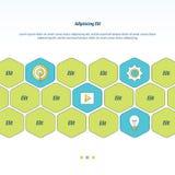 De vectoren van het pictogramconcept ontwerpen groene, blauwe en gele kleur Stock Foto's