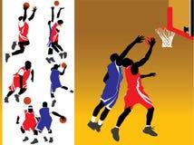 De Vectoren van het Silhouet van het basketbal Stock Afbeelding