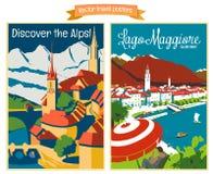 De vectorenillustraties van de reisaffiche met uitstekende Europese vakantiebestemmingen Stock Foto