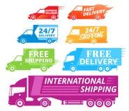 De vectoretiketten, de bedrijfsvoertuigen en de levering van de leveringsdienst Royalty-vrije Stock Afbeeldingen