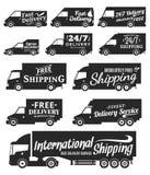 De vectoretiketten, de bedrijfsvoertuigen en de levering van de leveringsdienst Royalty-vrije Stock Afbeelding