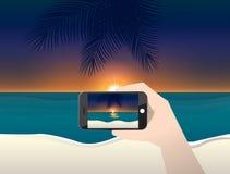 De vectorfoto van de illustratiereis van zonsondergang en strand Royalty-vrije Stock Afbeeldingen