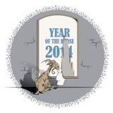 De vectorgeit, het symbool van 2015, het jaar het paard eet affiche Stock Afbeelding
