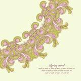 De vectorgroetkaart met aardig bloeit ornament op lichte gr. vector illustratie