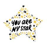 De vectorhand - gemaakt het van letters voorzien liefdecitaat u is mijn die ster en decorelementen en patroon op witte achtergron Royalty-vrije Stock Foto's