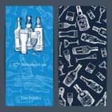 De vectorhand getrokken flessen en de glazen van de alcoholdrank vector illustratie
