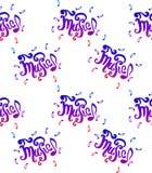 De vectorhand getrokken illustratie die van Muziek naadloze patroonhand van letters voorzien verdrinkt schetsillustratie op witte royalty-vrije illustratie