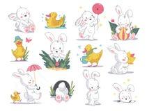 De vectorhand getrokken illustratie plaatste met leuk wit konijntje en geel weinig die eend op witte achtergrond wordt geïsoleerd vector illustratie