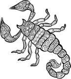 De vectorhand getrokken illustratie van de krabbelschorpioen Royalty-vrije Stock Afbeelding