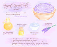 De vectorhand getrokken illustratie van geurig lavendelzout schrobt recept vector illustratie