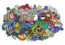 De vectorhand getrokken illustratie van Istanboel stock illustratie