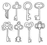 De vectorhand getrokken inzameling van krabbel uitstekende sleutels Isoleer ontwerpelementen op witte achtergrond royalty-vrije illustratie