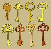 De vectorhand getrokken inzameling van krabbel uitstekende sleutels Isoleer ontwerpelementen op witte achtergrond stock illustratie