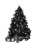 De vectorhand getrokken Kerstboom van de inktpen Stock Afbeeldingen