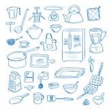 De vectorhand getrokken pictogrammen van de keukengereikrabbel geplaatst illustratie stock illustratie