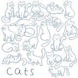 De vectorhand getrokken reeks katten in verschillend stelt Deze pluizige, leuke potten springen, het zitten, het beklimmen, het s vector illustratie