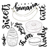 De vectorhand getrokken reeks van de snoepjeskrabbel Vectorschetsensnoepjes - cupcake, doughnut, makaron en banaan met het modern Stock Foto