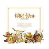 De vectorhand getrokken wilde elementen van de het westencowboy onder kader met plaats voor tekstillustratie royalty-vrije illustratie
