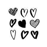 De vectorhartpictogrammen overhandigen getrokken kunstontwerp voor Valentine-dag vector illustratie